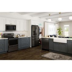 French Door Refrigerator in Fingerprint Resistant Black Stainless - Kitchen Ideas Modern Farmhouse Kitchens, Black Kitchens, Rustic Kitchen, Kitchen Decor, Kitchen Ideas, Kitchen Colors, Design Kitchen, Diy Kitchen, Kitchen Storage