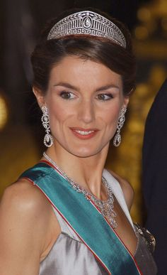 She wore a sparkling crown at a reception for the Hungarian president and his wife in January 2005.