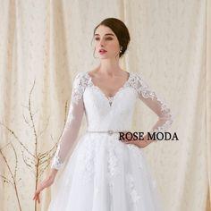 e7f7e38d Rose Moda Lange Ermer Bryllupskjole V Hals Hvid Blonde Bryllup Kjoler med  Ermer 2018 Real Billeder