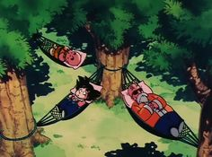 After the intense Turtle Hermit's Training; Krillin, Goku and Master Roshi