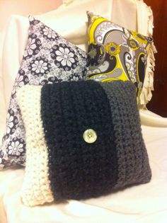 Multi Coloured Crochet Pillow and accents.