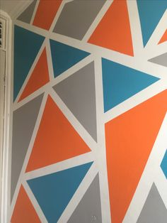 Wall art done with frog tape. Very simple to do and very effective