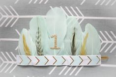 Adorable Aztec Mint  Gold Arrow Feather от AverysCoutureLook