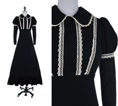 Vtg-60s-Black-Label-GUNNE-SAX-Empire-Puff-Sleeve-Victorian-Lace-Maxi-Dress-XS-S