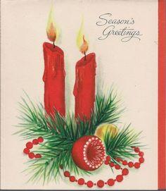 Vintage 1960's SEASON'S GREETINGS CHRISTMAS CARD unused Hallmark no envelope #5