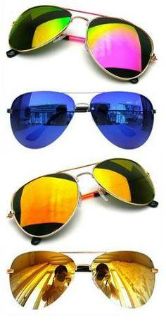 9237f4e435 Reflective Aviator Sunglasses Eighties Style