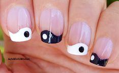 #Black&white #YinYang #Frenchmanicure #Nailart French Manicure Nails, French Manicure Designs, Nail Designs, Easy Nail Art, Nail Tutorials, Simple Nails, Yin Yang, Easy Diy, Plain Nails
