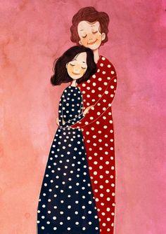 Mother Daughter Art, Mother Art, Mother And Child, Family Illustration, Portrait Illustration, Graphic Design Illustration, Principe William Y Kate, Mode Poster, Anime Muslim