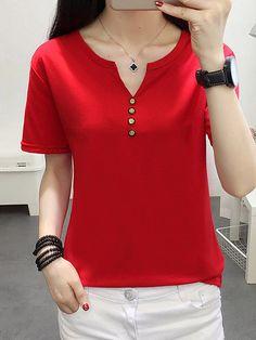 Simple Cheap Chic, Shop Polyester V-Neck Decorative Button Plain Short Sleeve Short Sleeve T-Shirts online. Stitching Dresses, Iranian Women Fashion, Blouse Dress, Blouse Designs, Plus Size Outfits, Plus Size Fashion, Tops Online, Shirts Online, Fashion Outfits
