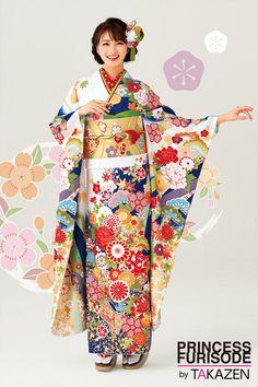 【成人式振袖】古典 白/赤/ブルー(青色) 商品画像1 Kimono Japan, Japanese Kimono, Kimono Fabric, Kimono Top, Japanese Outfits, Japanese Clothing, Kabuki Costume, Mode Kimono, Cute Kimonos
