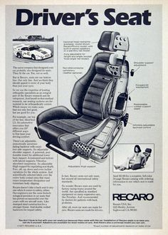 1978 Recaro Seats original vintage advertisement. Presenting IdealSeat LS, the new standard for automotive seating.
