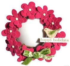 Fabric flowers and bird wreath tutorial.  Make for 'any' holiday.