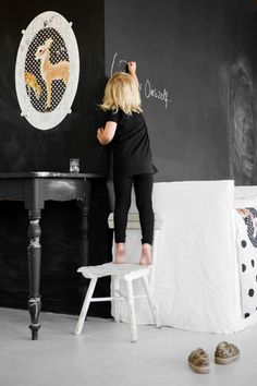 Chalkboard walls are like my dream and I love when little kids wear all black<3