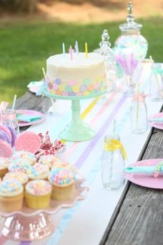 Unicorn Birthday Parties, Unicorn Party, First Birthday Parties, Birthday Party Decorations, Birthday Cake, Ice Cream Decorations, Candy Land Theme, Butter Mints, Pastel Candy