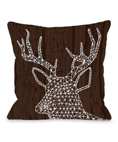 This Brown & White Geo Deer Throw Pillow is perfect! #zulilyfinds