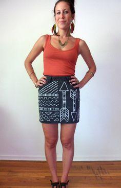 High Waisted Arrows & Native Geometric Black Denim Skirt. $43.00, via Etsy.