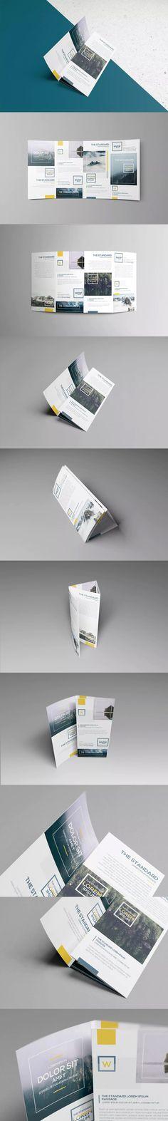 Four Panel Roll Fold Brochure Mockups