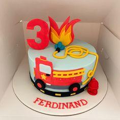 Firefighter Birthday Cakes, Truck Birthday Cakes, Boys 1st Birthday Cake, Fireman Birthday, Third Birthday, Fire Engine Cake, Fire Cake, Fire Fighter Cake, Cupcakes