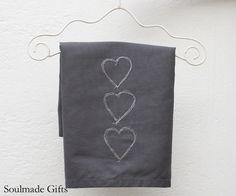 Valentine grey heart  tea towel Embroidery kitchen towel cotton dish towel. $15.00, via Etsy.