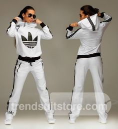 #zip #hood #tracksuit Stylish womens hooded zip white tracksuit.