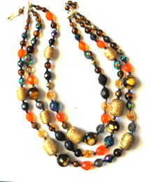 VTG. W. Germany 3-Strand Multi-color Autumn  Bead Necklace  #WGermany #StrandString Up for auction!