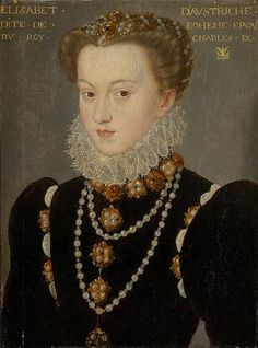 Elisabeth of Austria, Queen of France, daughter of Holy Roman Emperor Maximilian II. of Austria and Infanta Maria of Spain, wife of King Charles Charles IX. of France François Clouet Mode Renaissance, Renaissance Fashion, Italian Renaissance Art, Renaissance Jewelry, Viking Jewelry, Ancient Jewelry, Historical Costume, Historical Clothing, Historical Maps