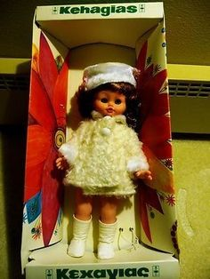 Up for bid is a used Kehagias doll from around Name on the box is Rosalie. Doll comes with original box. Box is ripped in places. Vintage Dolls, Box, Home Decor, Snare Drum, Antique Dolls, Room Decor, Home Interior Design, Decoration Home, Home Improvement