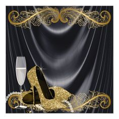 """Negro y encanto de Hollywood de la fiesta de Invitación 5.25"""" X 5.25"""" Masquerade Party Centerpieces, 60th Birthday Party Decorations, Elegant Birthday Party, 50th Birthday Invitations, Fabulous Birthday, 50th Birthday Party, Moms 50th Birthday, 41st Birthday, Birthday Woman"""