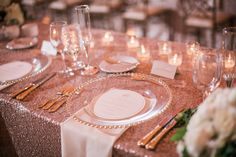 Rose gold linens with white napkin and clear charger plate | Wedding Planner: Cosmopolitan Events