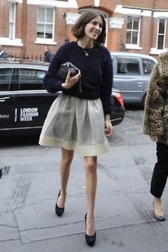 White skirt and blue sweater  alexa chung