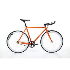 One Hand Built Fixed Gear Single Speed Bike: orange, white wheelset