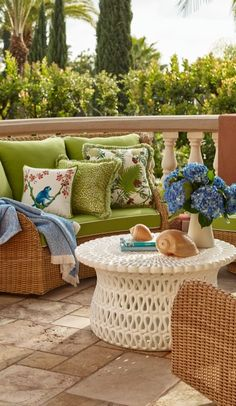 Create a cozy conversation area with our coastal-inspired Pacific Grove Collection. The charming look of wicker, smaller scale and curved design lend the ideal ambiance for chatting and relaxing.  | Frontgate: Live Beautifully Outdoors