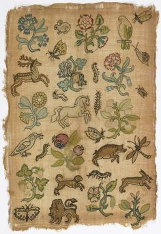 SAMPLER, 17TH CENTURY Medium: silk embroidery on linen foundation Technique: embroidered in tent stitch on plain weave foundation. Bequest of Gertrude M. Oppenheimer. 1981-28-102.