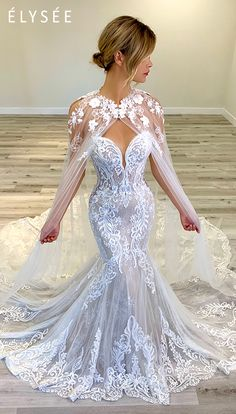 Cape pictured with Athenais dress (Dress sold separately) . Blue Wedding, Dream Wedding, Wedding Day, Wedding Stuff, Parfait, Sexy Wedding Dresses, Formal Dresses, Cape Dress, Lolita Fashion