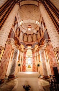 The interior of the Romanesque Church of Saint Pierre, Chauvigny, Indre, France