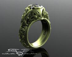 Vintage verde oro bianco zaffiro gotico floreale scolpito anello di fidanzamento con Damasco che vittoriano scorre. Zaffiro naturale alternativa di diamante.