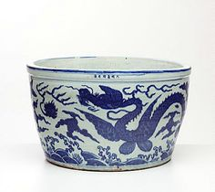 Fish bowl, China, Ming dynasty (1368- 1644), Jiajing mark and period (1522 - 1566), Jingdezhen, Jiangxi Province, porcelain with underglaze blue decoration, 38.8 x 65.5 cm. . Art Gallery of New South Wales, Sydney (C)