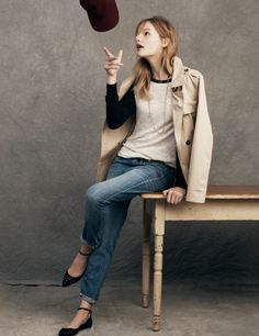 Madewell Belted trench worn with the Baseball sweater and the Boyjean.