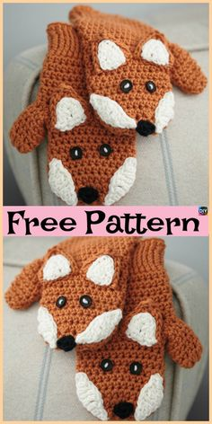 Knit / Crochet Fox Mittens - Free Patterns These Crochet Fox Mittens are pretty cute, and they also come with a knitting design. We have both knit and crochet design Crochet Baby Mittens, Crochet Mitts, Crochet Mittens Free Pattern, Crochet Gloves, Baby Knitting Patterns, Free Crochet, Knit Crochet, Crochet Crafts, Crochet Projects