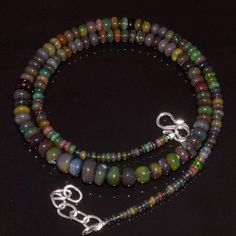 "56CRTS 2.5to6.5MM 18"" ETHIOPIAN OPAL RONDELLE BEAUTIFUL BEADS NECKLACE OBI2454 #OPALBEADSINDIA"