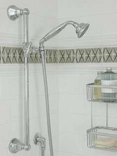 sarah richardson sarah house 4 master ensuite blue grey Love the accent tile with the white subway tile
