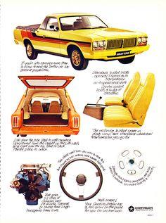 1978 CL Chrysler Drirfter Ute Panel Van - Aussie Magazine Advertisement Australian Muscle Cars, Aussie Muscle Cars, Dodge Trucks, Old Trucks, Chrysler Valiant, Holden Australia, Van Car, Chrysler Cars, Chrysler Imperial