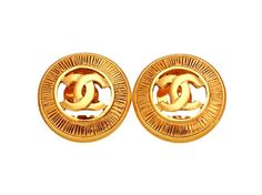Sensational Vintage Coco Chanel Round Cut with Centered Chanel Logo. Classic Statement Earrings. #crave #chanel #vintage #'vintagestyle #vintagejewellery #1960s #1970s #1980s #1950s #jewellery