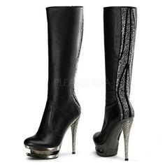 Pleaser DELIGHT-2017 6 Inch Heel, 1 3/4 Inch PF Blk Str. Pat/Blk,