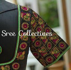 Beautiful black base with magenta & green work Pattu Saree Blouse Designs, Half Saree Designs, Blouse Designs Silk, Designer Blouse Patterns, Dress Neck Designs, Bridal Blouse Designs, Sleeve Designs, Blouse Desings, Hand Work Blouse Design