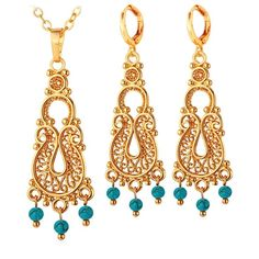 U7 Indian Jewelry Sets For Women Gold/Platinum Plated Turquoise Stone Vintage Turkey Earrings Necklace Sets Wholesale S229