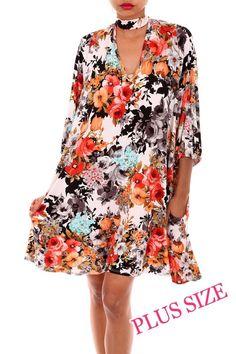 Kelly Brett Boutique - Plus Size Floral Keyhole Dress Ivory, $40.00 (https://www.kellybrettboutique.com/plus-size-floral-keyhole-dress-ivory/)