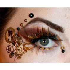 Steampunk Makeup I wonder if I could do something similar in a... ❤ liked on Polyvore featuring beauty products, makeup, steampunk, steam punk makeup and steampunk makeup