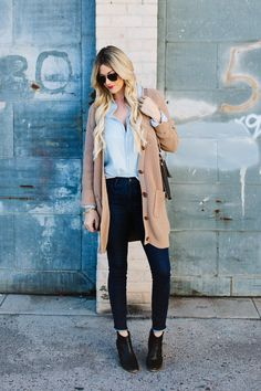 Denim on Denim with neutral add-ons : black leather booties, cashmere sweater, and turquoise jewelry