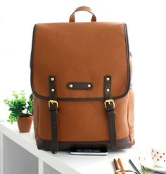 Square leather backpack leather bag rucksack satchel by PrettyBag, $26.00